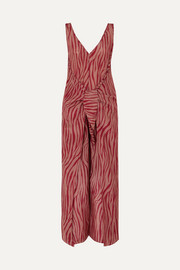 Acella tie-front tiger-print cotton and silk-blend voile jumpsuit