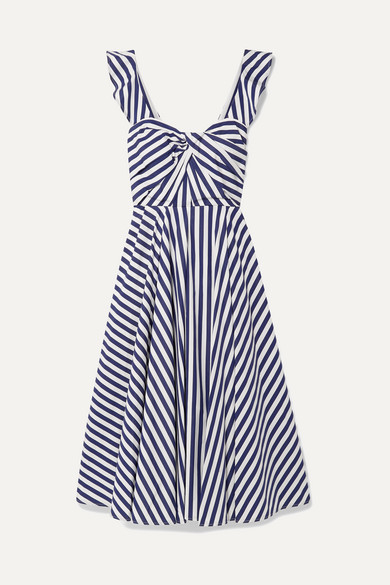 JASON WU | Jason Wu Collection - Twist-Front Striped Cotton-Poplin Midi Dress - Navy | Goxip
