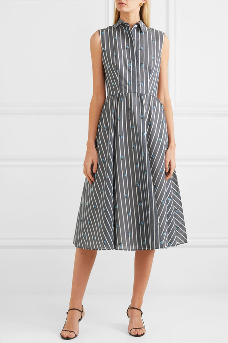 Embroidered striped cotton and silk-blend midi dress