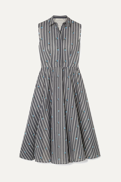 JASON WU | Jason Wu Collection - Embroidered Striped Cotton And Silk-Blend Midi Dress - Gray | Goxip