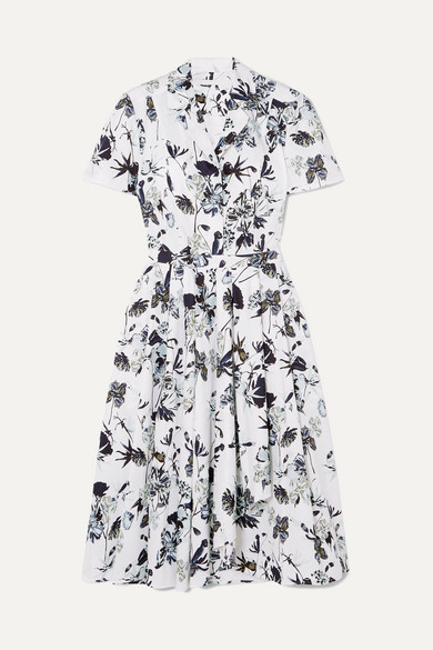 JASON WU | Jason Wu Collection - Pleated Floral-Print Cotton-Poplin Dress - White | Goxip