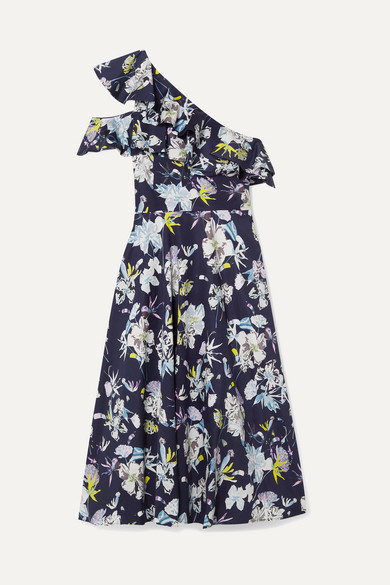 JASON WU | Jason Wu Collection - One-Shoulder Floral-Print Cotton-Poplin Dress - Navy | Goxip