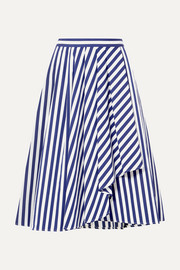 Jason Wu Collection Draped striped cotton-poplin skirt