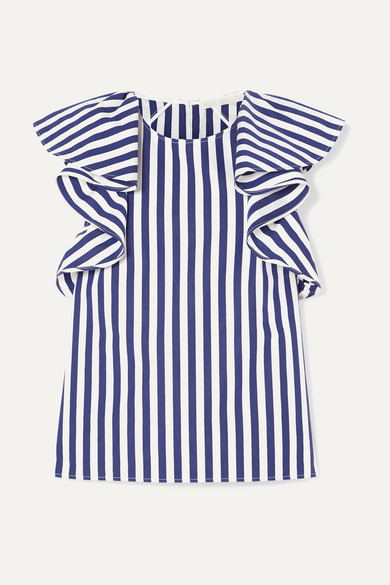 JASON WU | Jason Wu Collection - Ruffled Striped Cotton-Poplin Top - Navy | Goxip