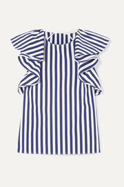 Jason Wu Collection Ruffled striped cotton-poplin top