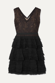Jason Wu Collection Tiered cotton-blend lace and chiffon mini dress