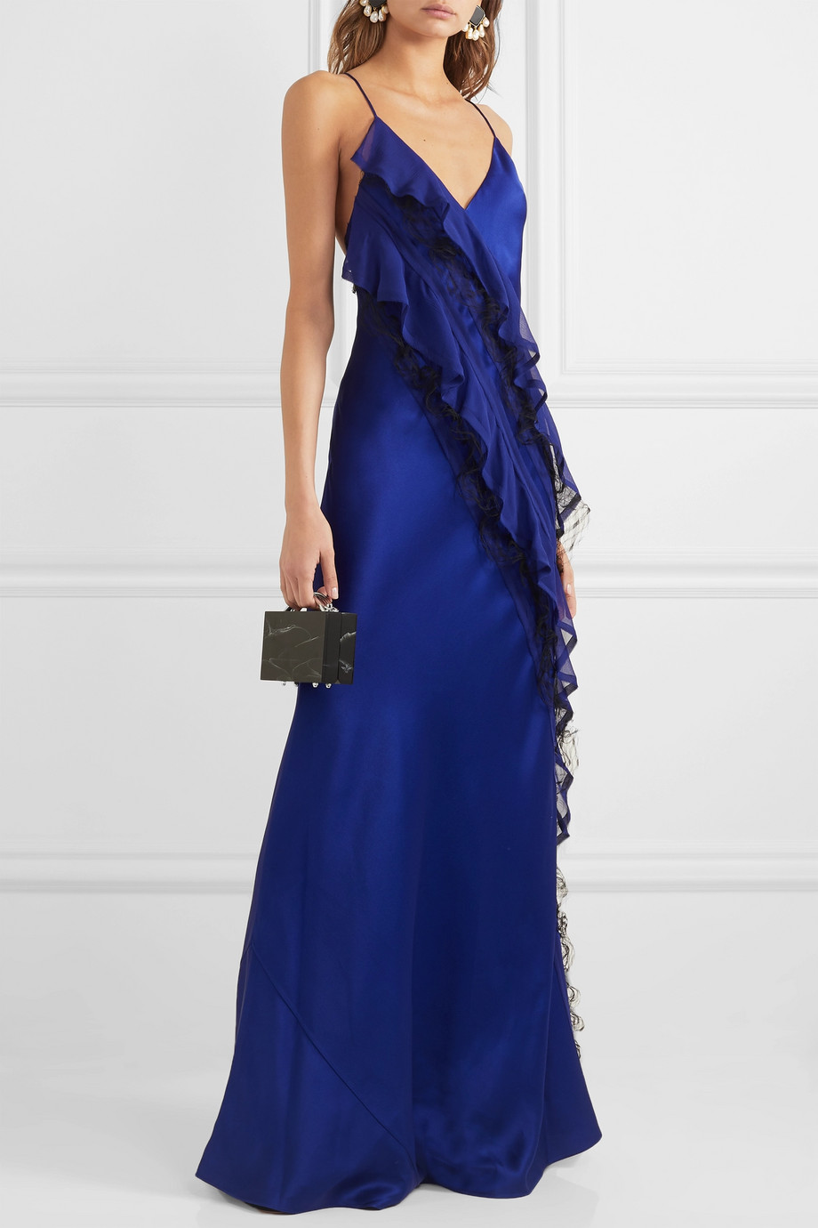 Jason Wu Collection Ruffled tulle-trimmed silk-crepon and hammered-satin gown