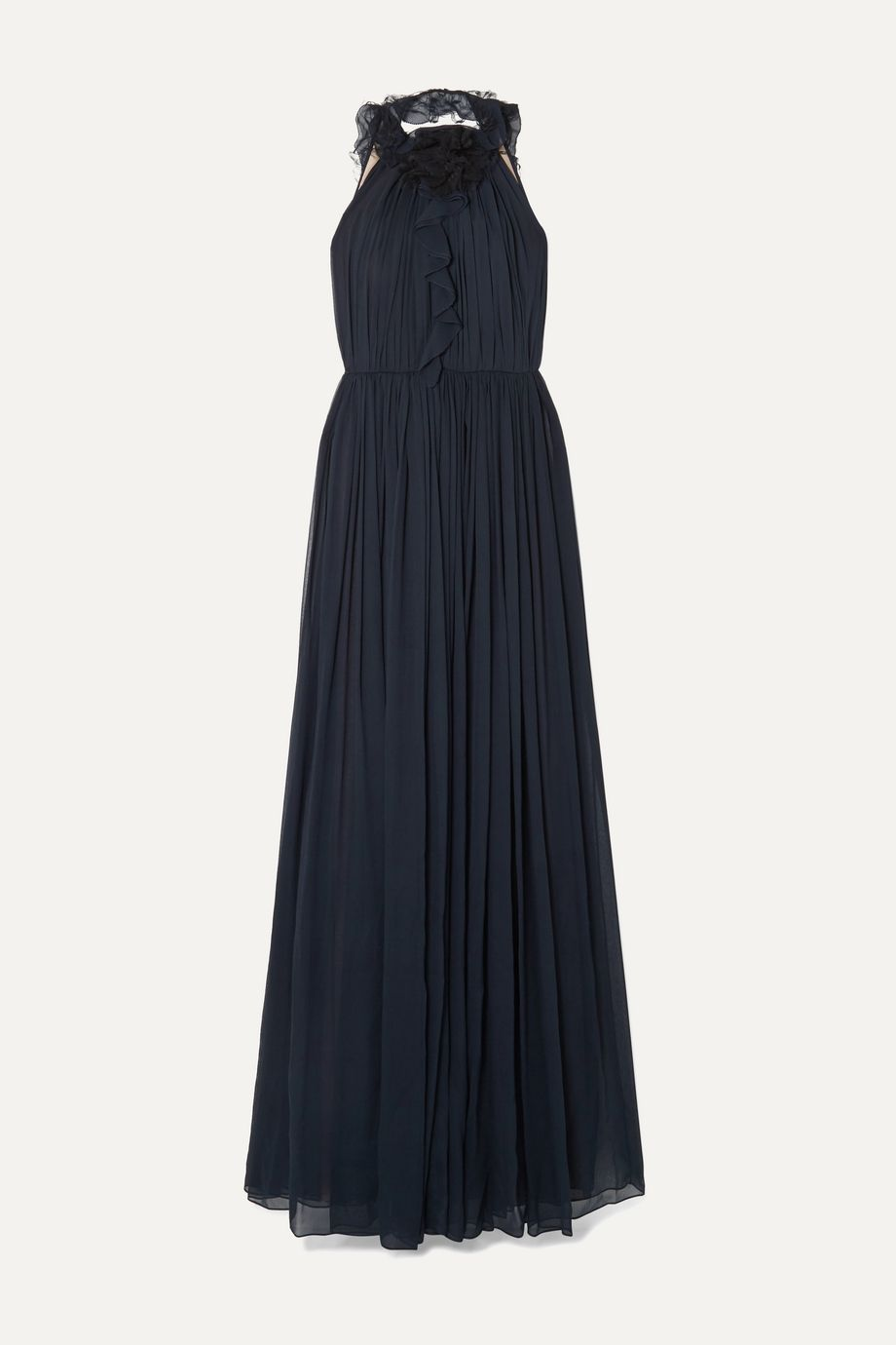 Jason Wu Collection Open-back ruffle-trimmed tulle and silk-chiffon gown