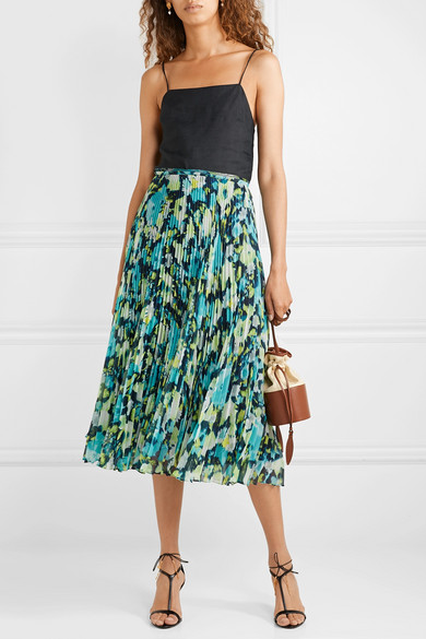 a08c66692 Jason Wu Collection. Tulle-trimmed pleated printed chiffon midi skirt