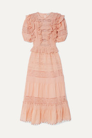 Ulla Johnson Guinivere crochet-trimmed broderie anglaise cotton-blend maxi dress