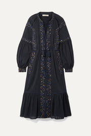 Ulla Johnson Vanita embellished cotton-gauze midi dress