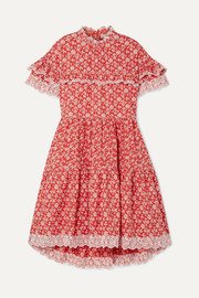 Ulla Johnson Leonie broderie anglaise-trimmed floral-print cotton-poplin dress