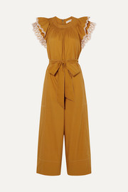 Ulla Johnson Landon ruffled broderie anglaise-trimmed cotton-poplin jumpsuit