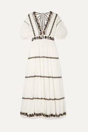Ulla Johnson Alma sequined embroidered crinkled cotton-voile maxi dress