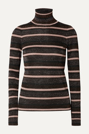 Genie striped metallic knitted turtleneck sweater