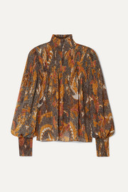 Ulla Johnson Dune smocked printed cotton-blend blouse