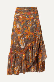 Ulla Johnson Ailie ruffled printed cotton-blend midi skirt