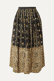 Aisha embellished embroidered linen and cotton-blend midi skirt