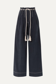 Ulla Johnson Soren belted Tencel and cotton-blend wide-leg pants