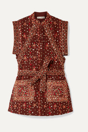 Ulla Johnson Indira embellished embroidered linen and cotton-blend vest