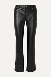 Faux leather straight-leg pants