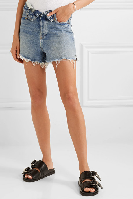Bite Flip fold-over frayed denim shorts
