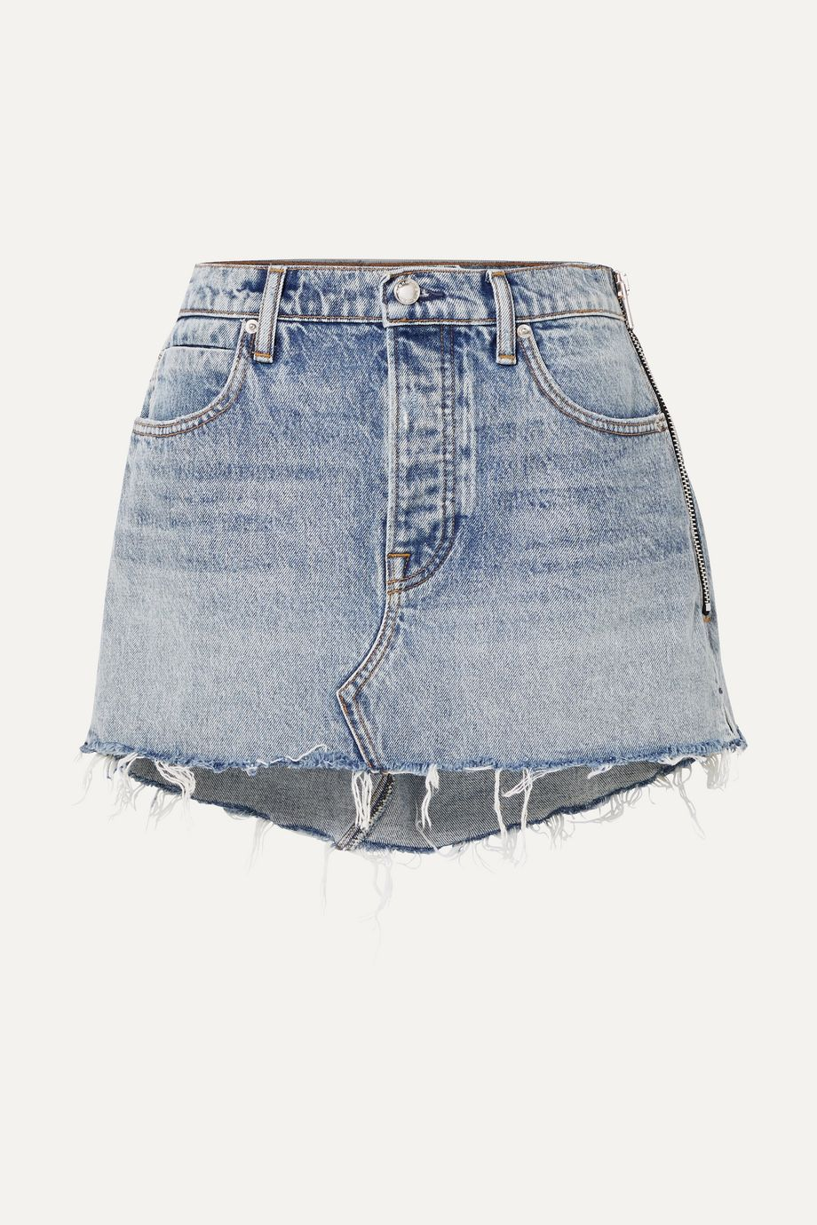 Alexander Wang Snip zip-embellished frayed denim mini skirt