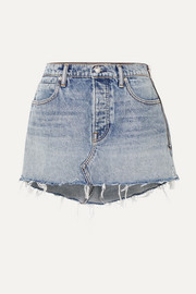 Snip zip-embellished frayed denim mini skirt