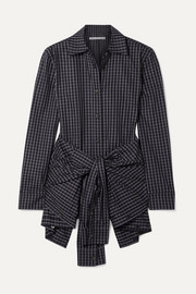 Alexander Wang Layered tie-front checked poplin shirt