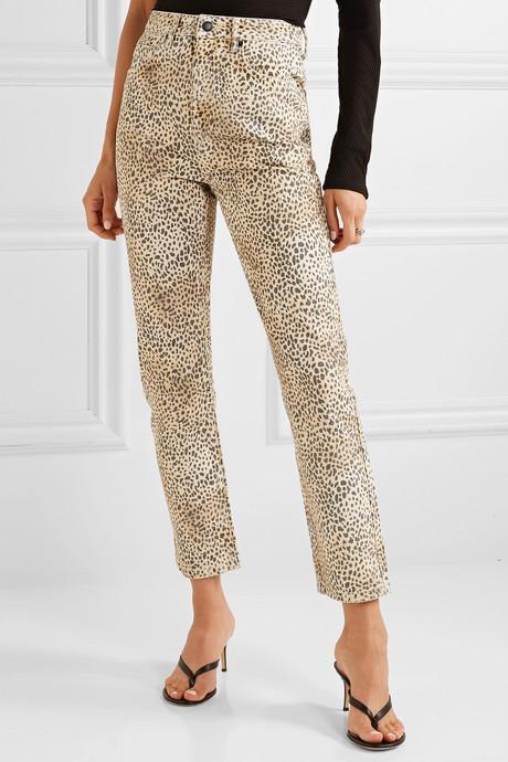 Cult leopard-print high-rise straight-leg jeans