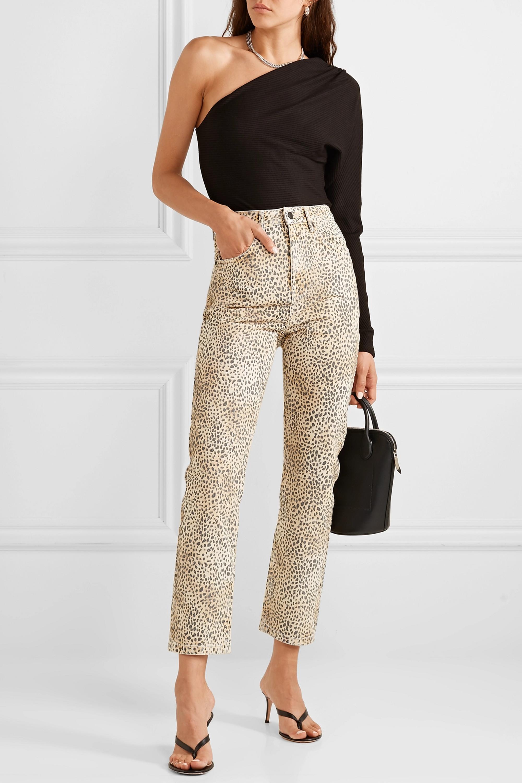 Alexander Wang Cult leopard-print high-rise straight-leg jeans