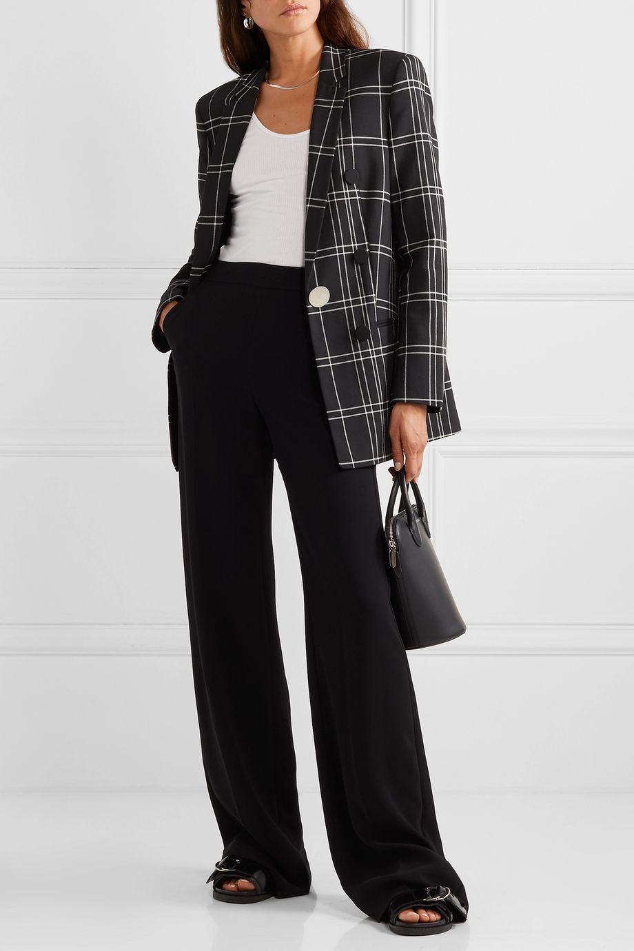 Alexander Wang Leather-trimmed checked woven blazer