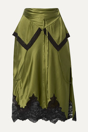 Alexander Wang Layered lace-trimmed silk-charmeuse skirt