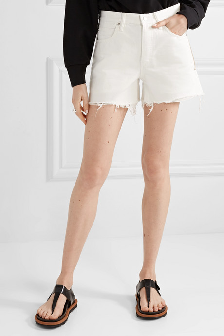 Float zip-embellished frayed denim shorts
