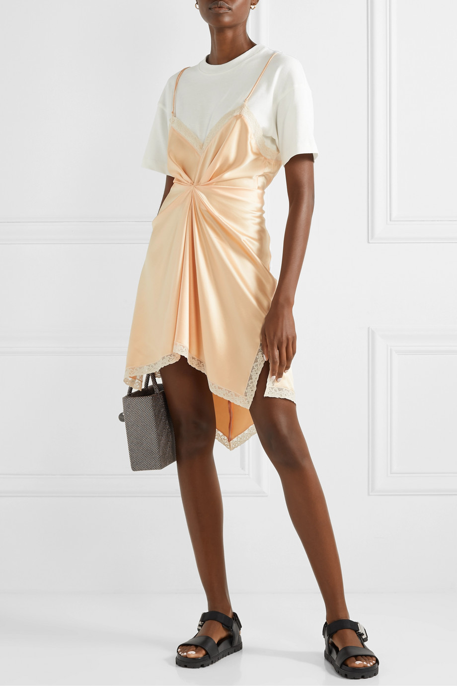 Alexander Wang Layered lace-trimmed silk-charmeuse and cotton-jersey mini dress