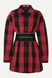 Alexander Wang Belted checked cotton-twill shirt