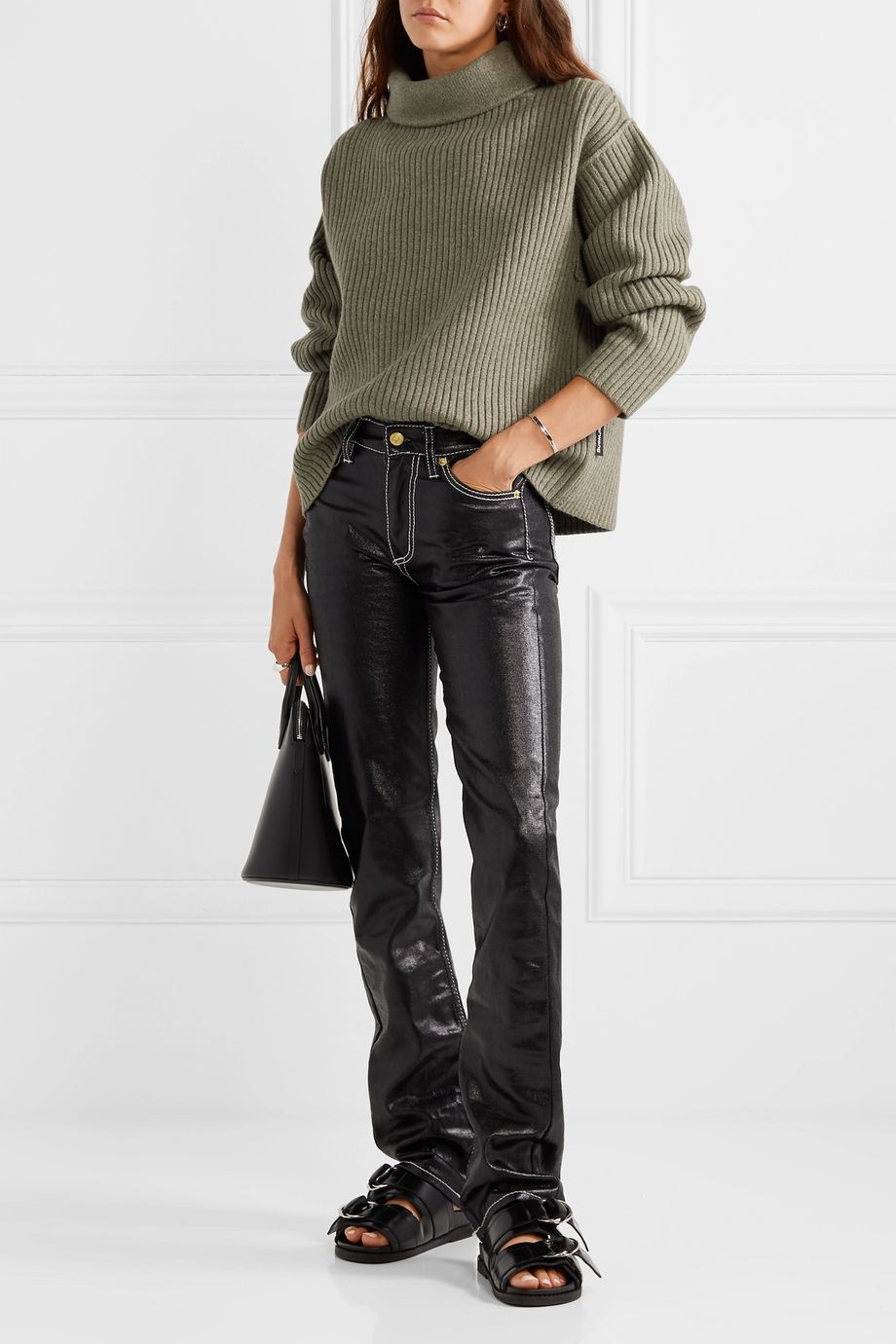 Alexander Wang Oversized ribbed wool-blend turtleneck sweater