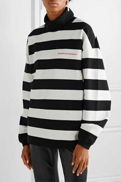 Chynatown oversized striped cotton turtleneck sweatshirt