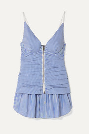 Ruched striped cotton-blend peplum camisole