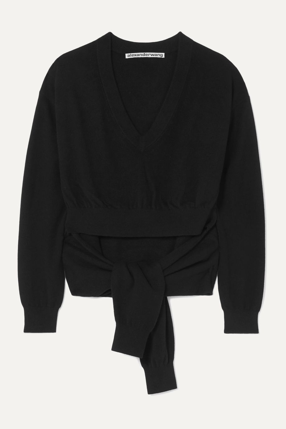 Alexander Wang Tie-detailed cutout wool-blend sweater