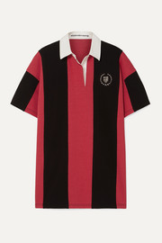 Alexander Wang Oversized embellished striped cotton-jersey polo shirt