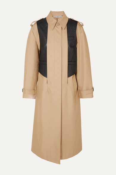 Alexander Wang Coats Layered cotton-blend gabardine and ostrich-effect leather trench coat