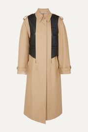 Layered cotton-blend gabardine and ostrich-effect leather trench coat