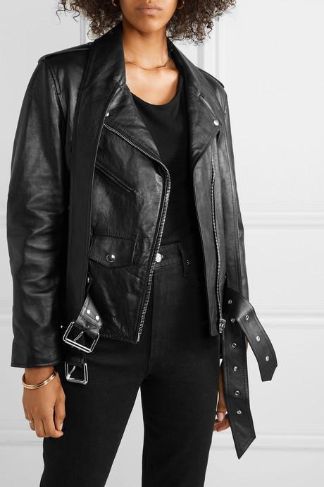 Martingale belted leather jacket