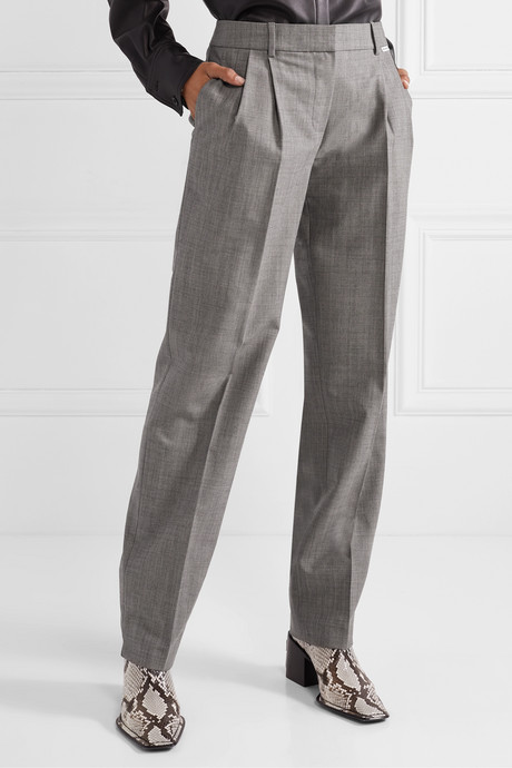 Stretch wool and mohair-blend tapered pants