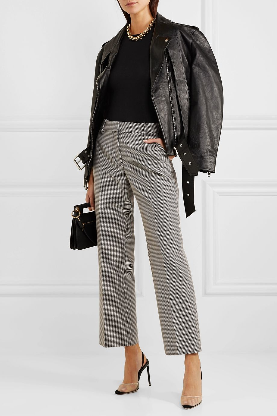 Alexander Wang Houndstooth wool-blend straight-leg pants