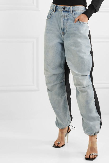 Pack Mix paneled denim and shell pants