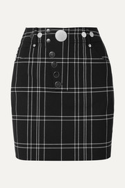 Checked woven mini skirt
