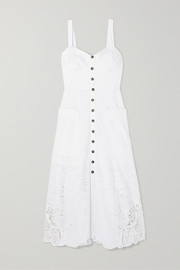 Saloni Fara crocheted lace-trimmed broderie anglaise cotton midi dress
