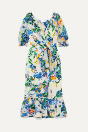 Saloni Olivia floral-print devoré-chiffon wrap-effect midi dress
